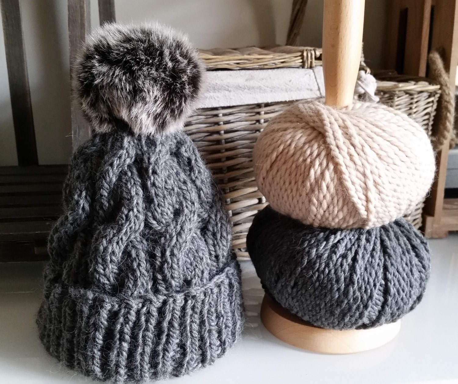 Cable Knit Bobble Hat Pattern : Cable Bobble Hat Knitting Pattern PDF Faux Fur Pom Pom The