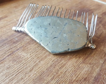 Natural Large Pyrite Hair Comb - Perfect for Weddings, Brides, Prom or Everyday Fashion