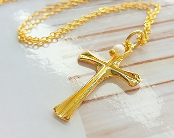 Gold cross necklace, Gold plated cross necklace, Cross gold necklace, Simple cross necklace, Modern cross necklace