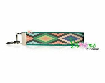 Tribal theme aztec wrist key chain key fob wristlet