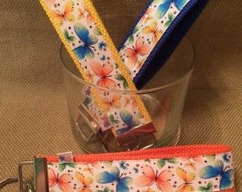 Butterflies wrist key chain key fob wristlet