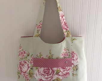 Floral Green/Pink large tote with front pocket and pink spotted lining.  HANDMADE, UNIQUE