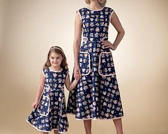 McCall's Pattern M7354 Misses'/Children's/Girls' Matching Back-Wrap Dresses