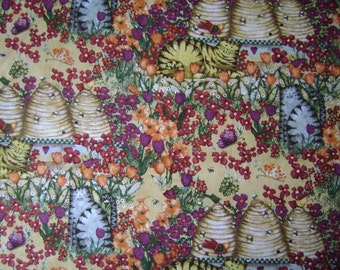 Garden Buzz Scene Bee Hives Cotton Fabric Sold by the Yard