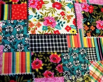 Bright Floral & Stripe Patchwork Print Flannel