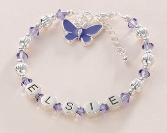 Personalised Girls Bracelet with Tanzanite Crystals & Butterfly. Childs Name Bracelet.