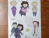 Sherlock BBC Pre-Cut Stickers (A6 sheet) | Over the Garden wall Pre-Cut Stickers (A6 sheet)