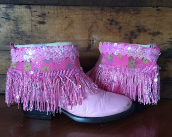 Pink upcycled western cowgirl boots girl's size 8