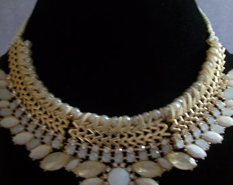 gold plated rhinestone necklace
