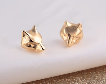 Gold Fox Stud Earrings. Matching necklace also available.