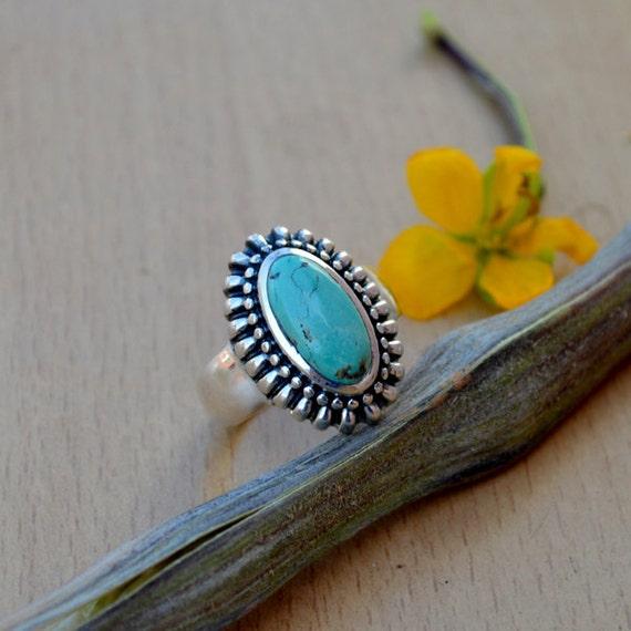 Tibetan Turquoise Ring, Turquoise Gemstone Ring, 925 Sterling Silver Ring, Bezel Set Ring Size 9, Turquoise Gemstone Ring