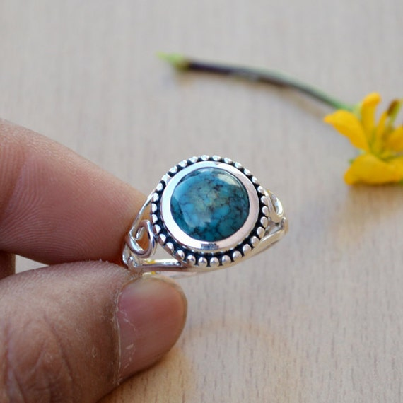 Turquoise Ring- Round Cab Ring- Bezel Ring- Set in Sterling Silver Ring- Green Turquoise Birthstone Gemstone Gift Ring Size 8.5