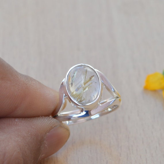 African Golden Yellow Rutile Quartz Ring, Solid 925 Sterling Silver Ring, November Birthstone Ring Jewelry, Yellow Gemstone Ring Size 8