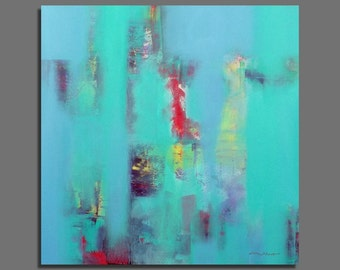 Abstract painting Original Painting Contemporary 100X100 / 39,4x39,4 Large Size Square Green, blue, turquoise, red