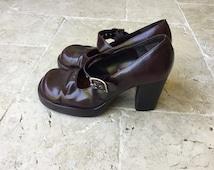 vintage 90's chunky strap platforms half shoes wine red mudd boho punk grunge footwear women shoes 90's size 8, slip ons, walking shoes