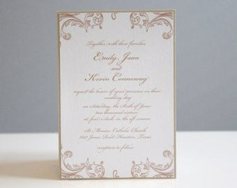 Neutral Wedding Invitations, champagne Wedding Invitations, Wedding Invitation, Deposit to Get Started