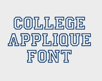 "College Appliqué Embroidery Machine Font, 1"", 2"", 3"" & 4"" sizes (upper case and numbers) - INSTANT DOWNLOAD - Item #1074"