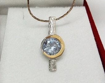 SUMMER SALE -  Lilac lavender Pendant, 925 Sterling Silver Gold Necklace Stone , lavender Pendant, Silver Gold Pendant, Silver Gold Necklace