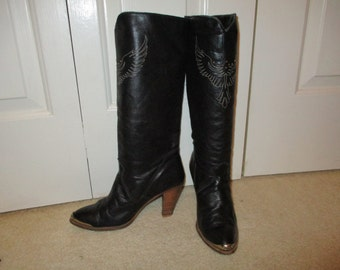 Vintage Dingo studded eagle leather boots 7 1/2M