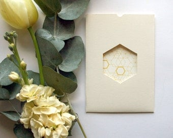 Ochre Geometric wedding invitation & RSVP card SAMPLE*