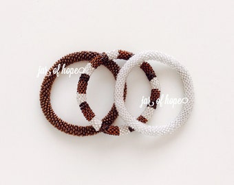 Nepal Beaded Roll On Bracelets Set of 3 Birthday Gift Brown Silver