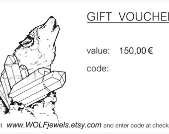 150 EURO: Jewelry gift voucher with a value of 150 euro, jewelry gift card, gift certificate, jewelry gift card