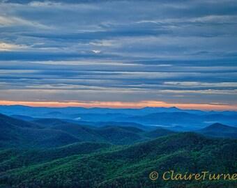 Blue Ridge Parkway Sunrise Photo Print, Fine Art Photography, Blue Ridge Mountains
