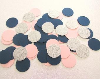 225 Blush Navy Silver Confetti Blush Navy Wedding Decor Blush Navy Shower Decor Blush Navy Birthday Decor Blush Confetti Silver Confetti