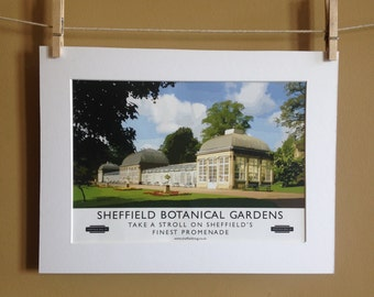 Travel Poster -Sheffield Heritage Poster: Sheffield Botanical Gardens - A4 Poster- Retro Poster