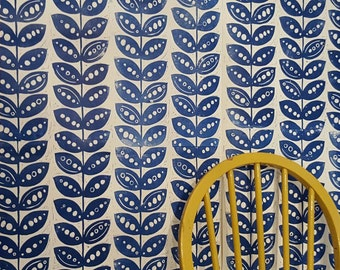 "Hand printed, lino cut wallpaper in ""Pretty Pea "" Retro/ scandi"