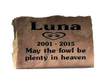 Personalized natural stone pet memorials, Garden Stones, Stone Markers