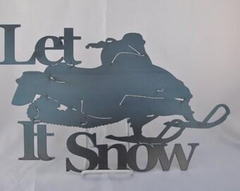 WN01 Let it snow Snowmobile metal winter decor