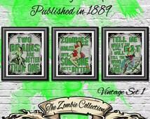 Zombie Set Prints, dictionary Print, Antique Print, Unique Home decor, 3 book page prints, Izombie Print