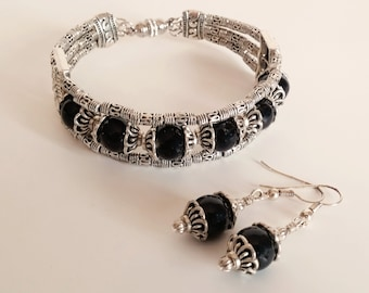 ON SALE 40% OFF - Black and Silver Beaded Cuff Bracelet and Dangle Earring Jewelry Set - BJS0013