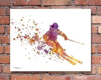 Skier Art Print - Abstract Watercolor Ski Painting - Wall Decor