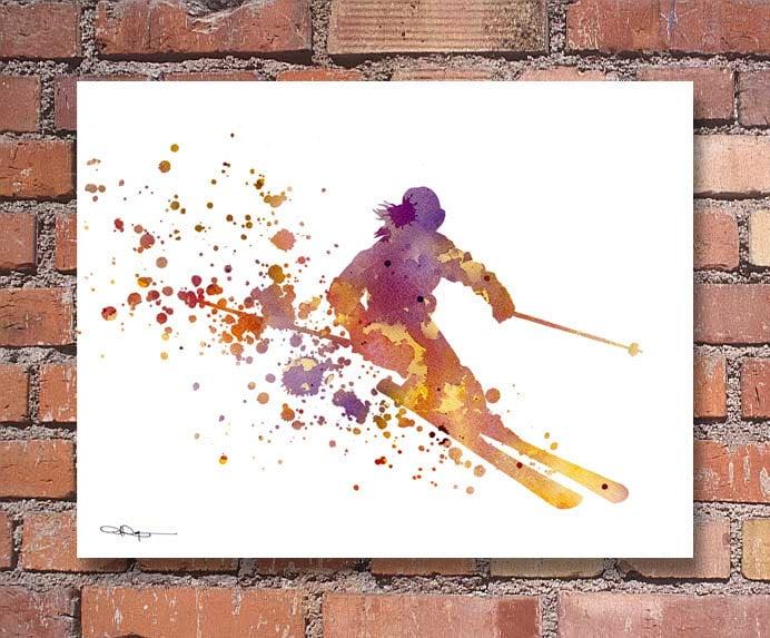 Skier Art Print Abstract Watercolor Ski Painting Wall