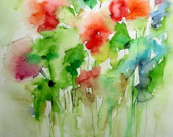 "ORIGINAL WATERCOLOR CASSIA / / flowers / / 2016 / / by Rovira Rusiñol / / 15.3 ""x 11.13"