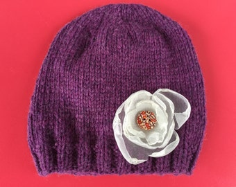 Knit Purple Baby Hat with Flower