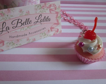Sweetie Cupcake Necklace in Pink and Blue