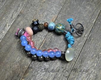 Boho Assemblage Bracelet, Chunky, Pastel, Gemstone Beads, Bohemian Jewelry, Gypsy Handmade Statement Bracelet, Eco Friendly, Pink Blue, Chic