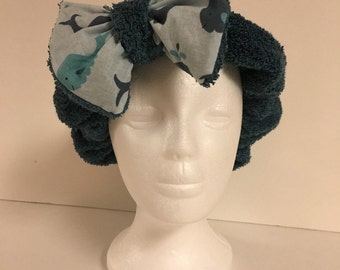 Whale and Dark Teal Foofie Spa Headband- holds hair back when washing your face