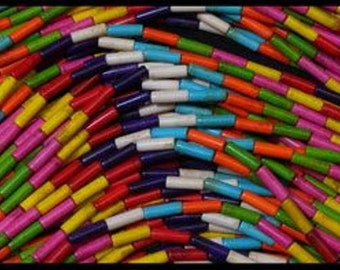 """Magnesite Multicolored Tubes 4mm x 13mm on a 15-16"""" strand"""
