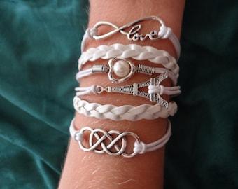 White Braided Paris infinity Love Bracelet