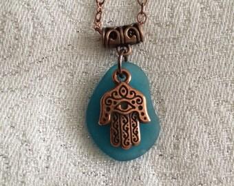 Copper Hamsa Hand Necklace