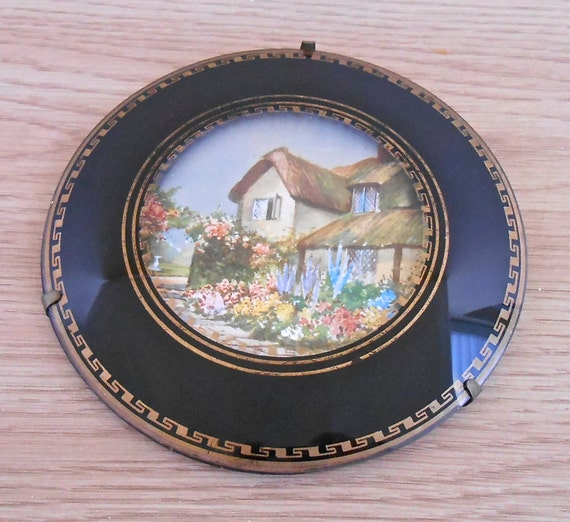 vintage domed glass picture thatched cottage and garden