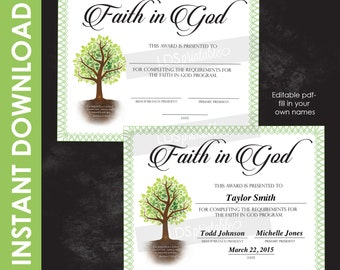 LDS Faith In God Award LDS Printable fill in the blank or editable certificate