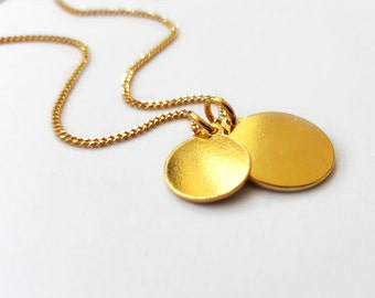 Elegant Gold Plated Pendant Necklace, Two Charms Necklace, Two Round Discs Necklace, Curb Chain, Gold Plated Jewelry