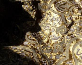 Gold Printed Velvet Uphoulstery Weight 1 1/4 Yards
