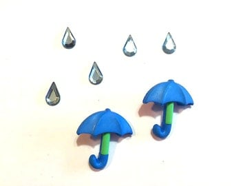 Blue Rain Umbrella Buttons Raindrops Jesse James Buttons Puddle Jumpers Dress It Up Buttons Set of 2 Shank Back - 126 B