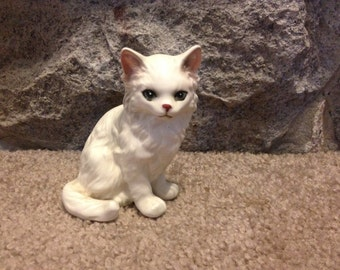Vintage Porcelain Cat Milky White Fluffy Persian Made in Japan